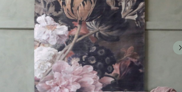 Dark Hanging Floral Print Canvas