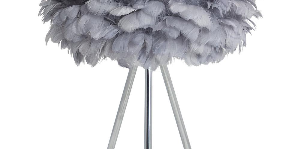 chrome tripod lamp grey feather shade