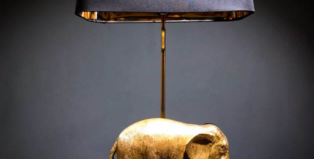 Black & Gold Elephant Table Lamp