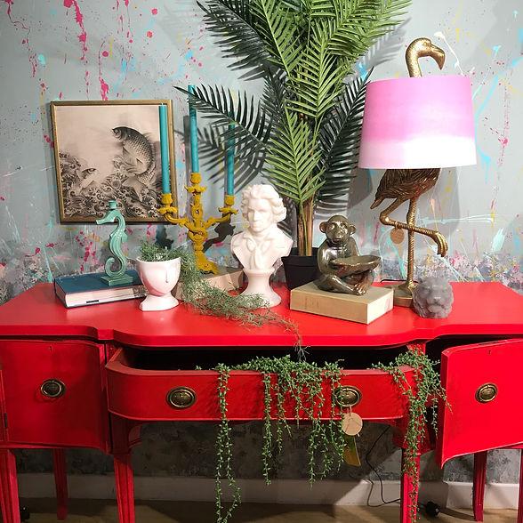 unique home furnishings, red hallway tab
