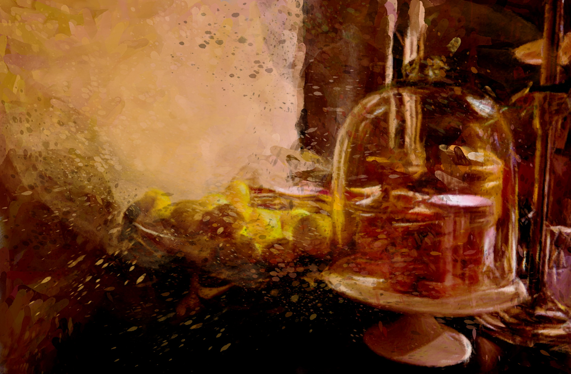 Citrons et ambiance Flamant Interiors, un tableau de l'artiste Laure Van De Meele