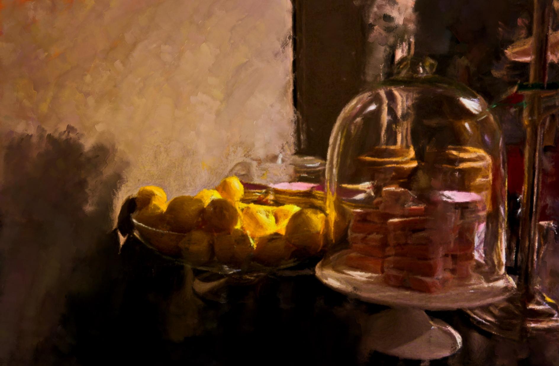Citroenen en sfeer Flamant Interiors, een schilderij door de kunstenaar Laure van de Meele