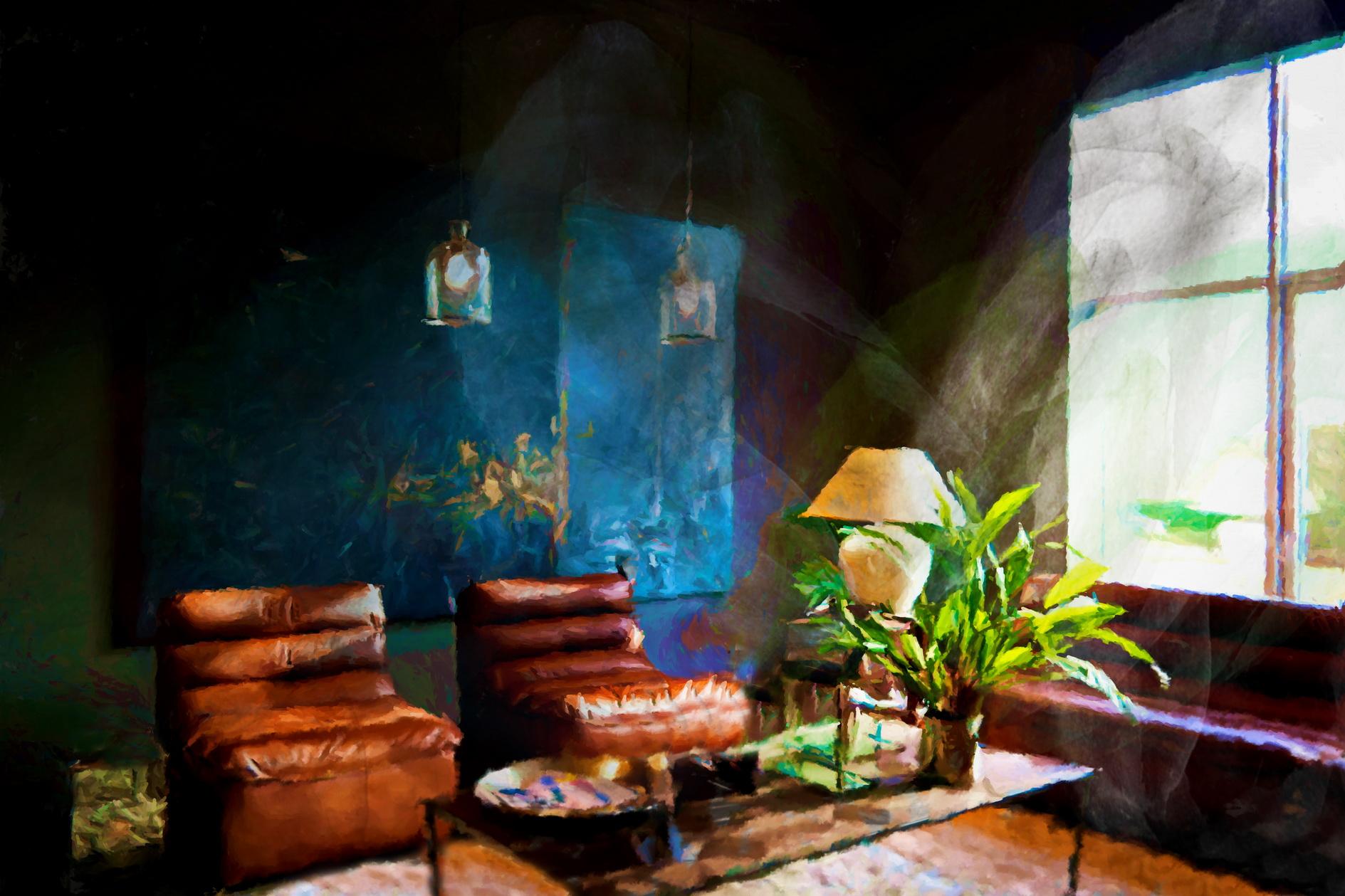 Tableau_de_salon_cuir_de_Flamant_Interiors,_créé_par_l'artiste_Laure_Van_De_Meele
