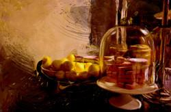 Citroenenschaal, een schilderij door de Belgische kunstenaar Laure Van De Meele, inspiratie Flamant
