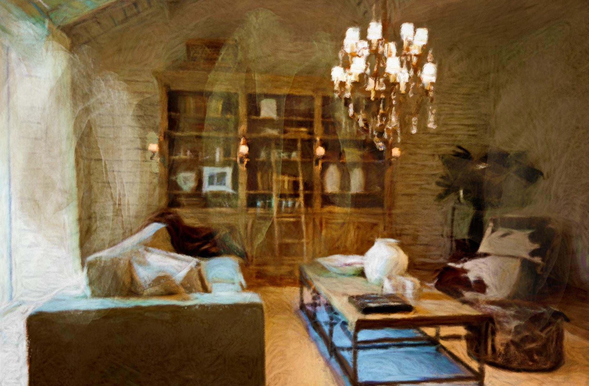 Lounge_bibliotheek,_een_schilderen_gemaakt_door_Laure_Van_De_Meele_geïnspireerd_door__Flamant_Interi