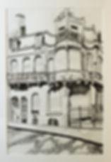 Ancienne maison de l'architecte V. Horta, dessinée au feutre par Laure Van De Meele, artiste peintre, Belgique
