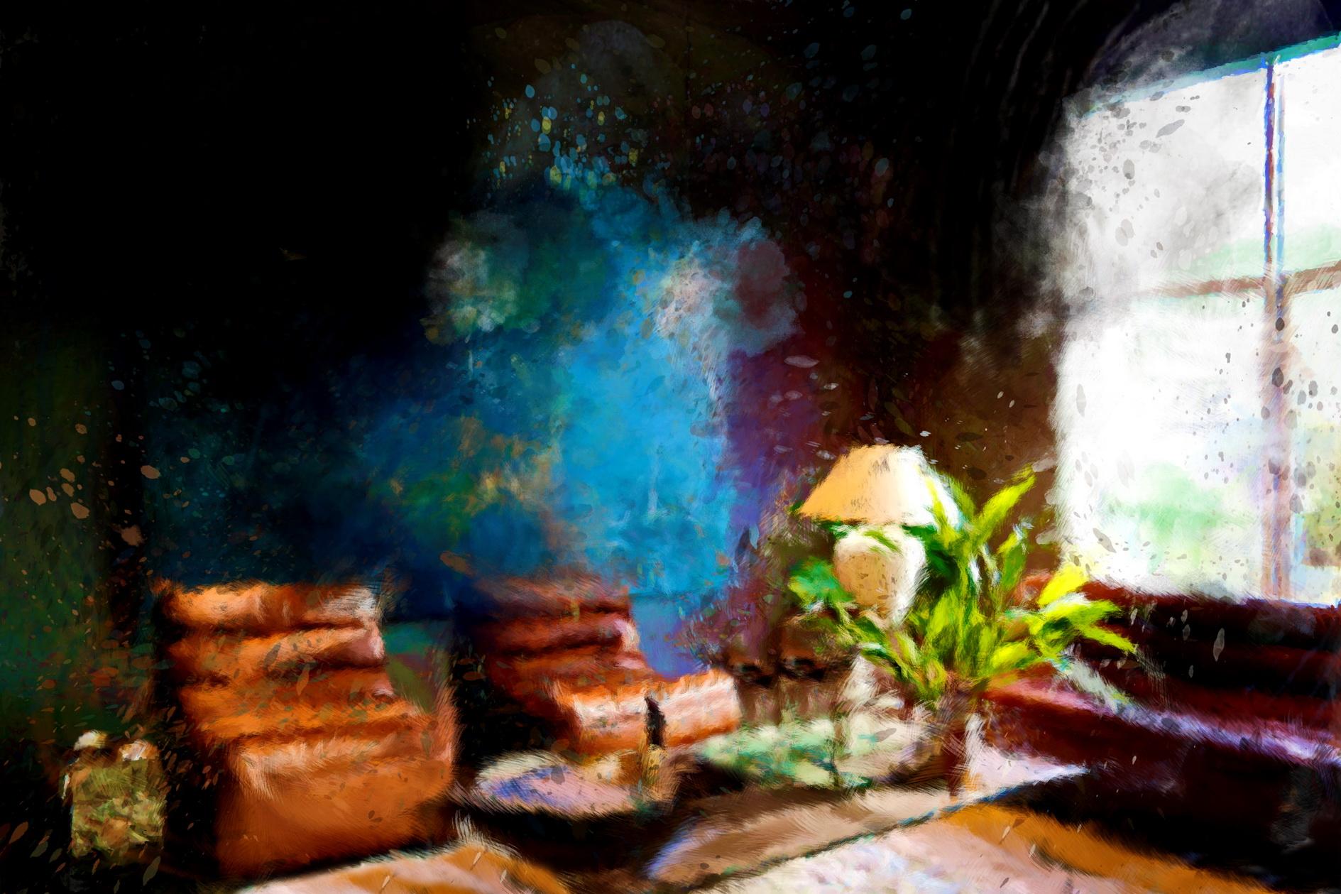 Sfeer van de lounge leder bij Flamant Interiors, een schilderen van de kunstenaar Laure Van De Meele