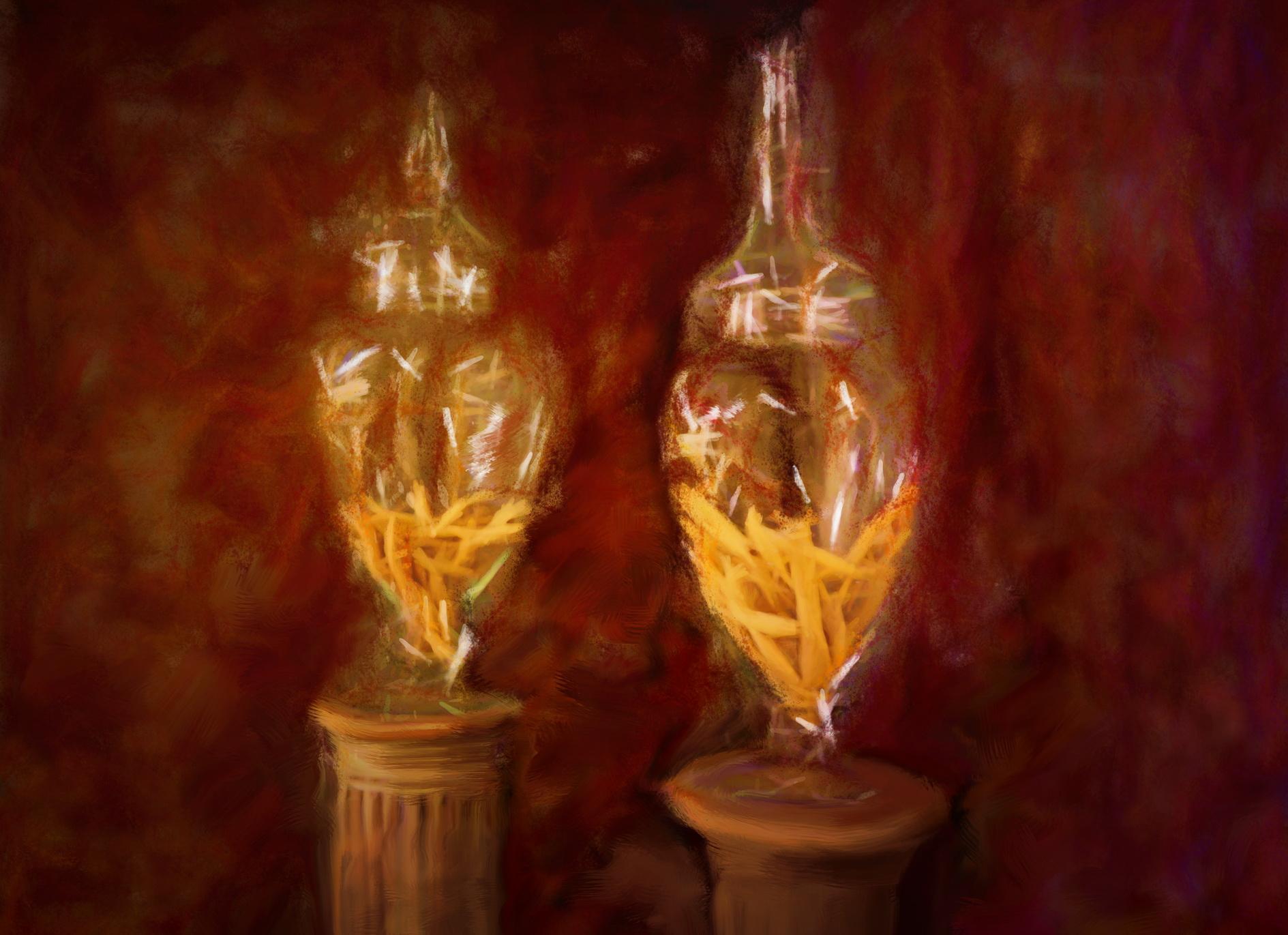 Flamant design vazen, een schilderen van Laure Van De Meele, Belgische kunstenaar