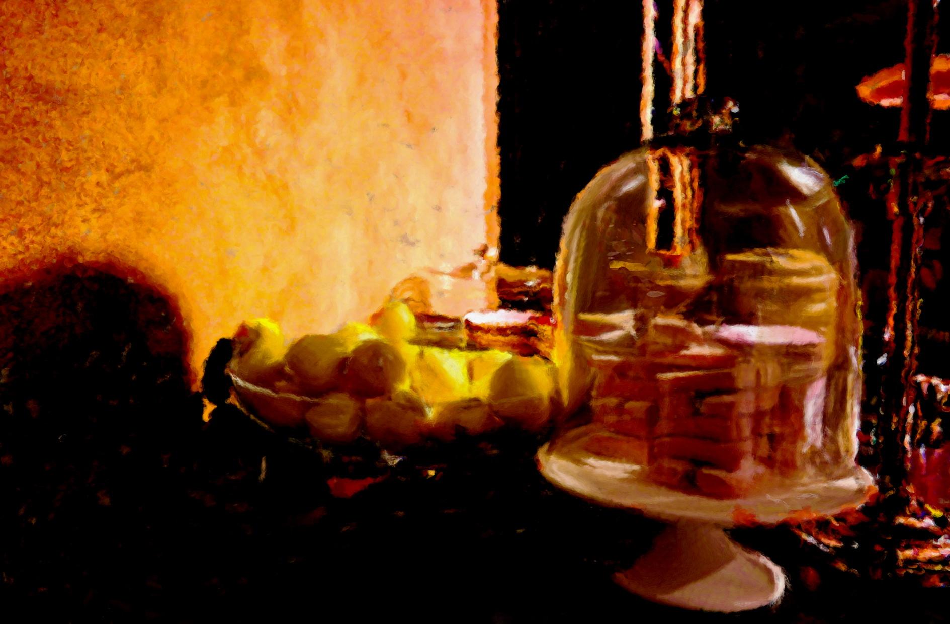La coupe de citrons, un tableau de l'artiste Belge Laure Van De Meele, inspiration Flamant Interiors