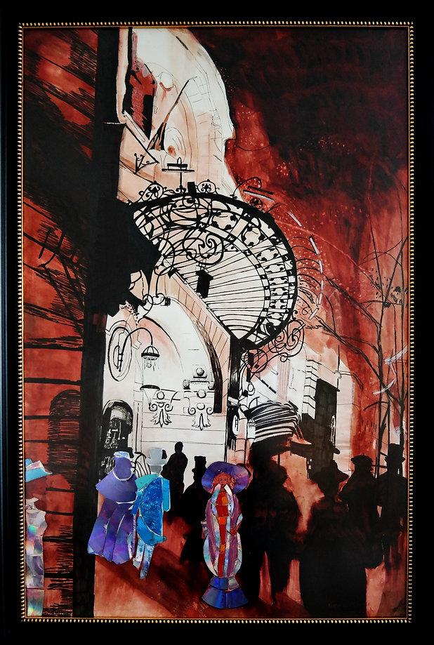 De schilderij met de schouwburg van artiest laurevandemeele  is alleen geschilderd met rode walnut stain (bister) en de mensen zijn gemaakt met CD stukjes die het licht terug weerkaatsen in verschillende richtingen.