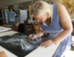 Laurevandemeele bezoekt de klas van de tekenacademie van Ninove in Belgïe