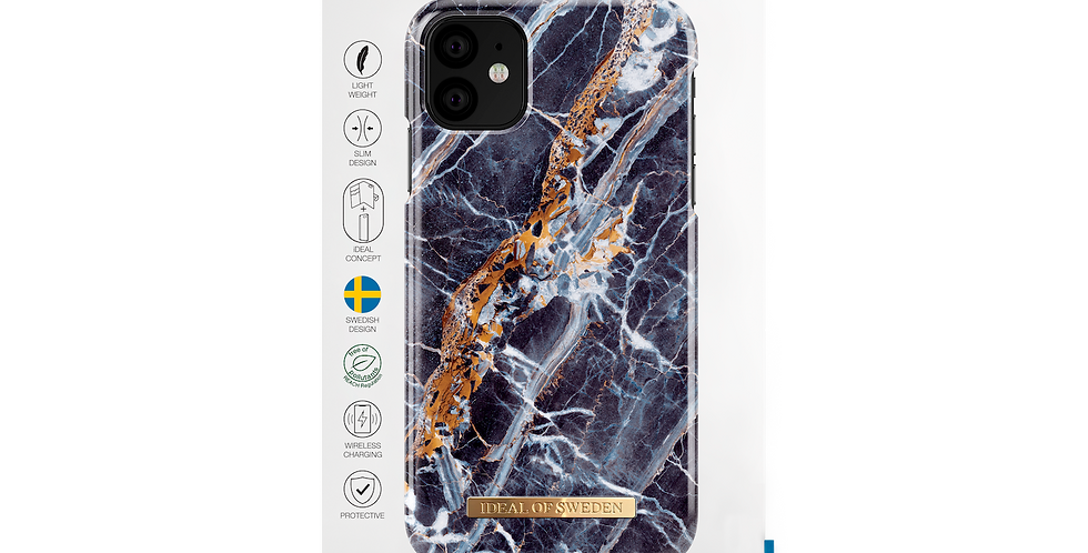 iDeal Of Sweden iPhone 11 Fashion Case, Midnight Blue Marble
