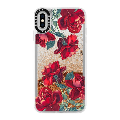 Casetify iPhone Xs Glitter Case, Gold Chrome Red Roses