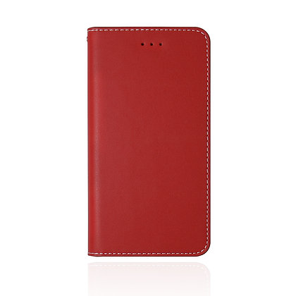 JTLegend iPhone Xs Max Original Cowhide Leather Flip Case, Red