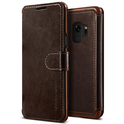 VRS Design Samsung Galaxy S9 Dandy Layered PU Leather Case, Dark Brown