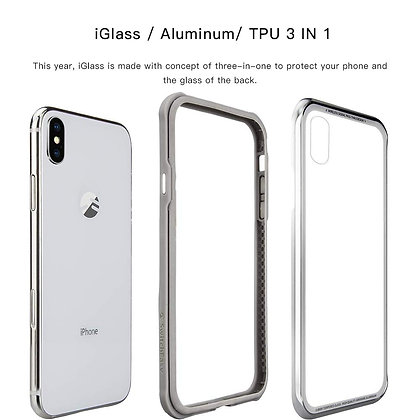 SwitchEasy iPhone Xs iGlass Aluminum+Glass+TPU Case, Silver
