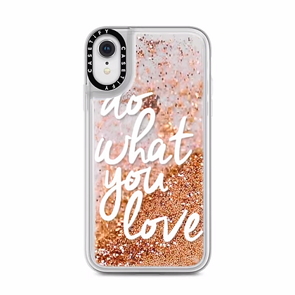 Casetify iPhone XR Glitter Case, Gold Chrome Do What You Love