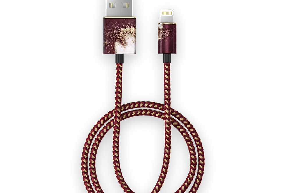 iDeal Of Sweden Fashion Lightning Cable (MFI), 2M Golden Burgundy Marble