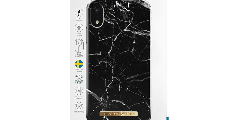 iDeal Of Sweden iPhone XR Fashion Case, Black Marble