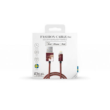 iDeal Of Sweden Fashion Lightning Cable, 2M Golden Burgundy Marble