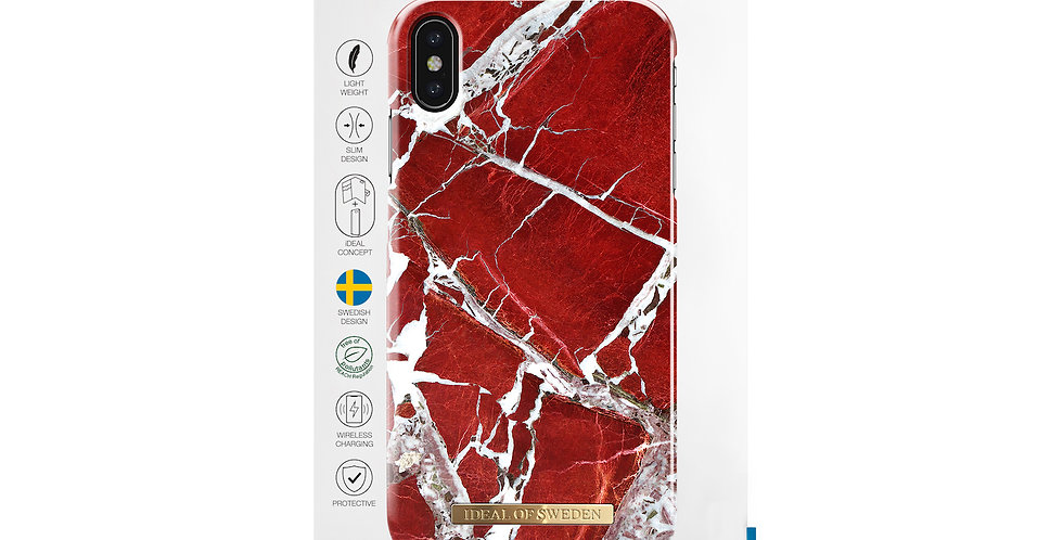 iDeal Of Sweden iPhone Xs Max Fashion Case, Scarlet Red Marble