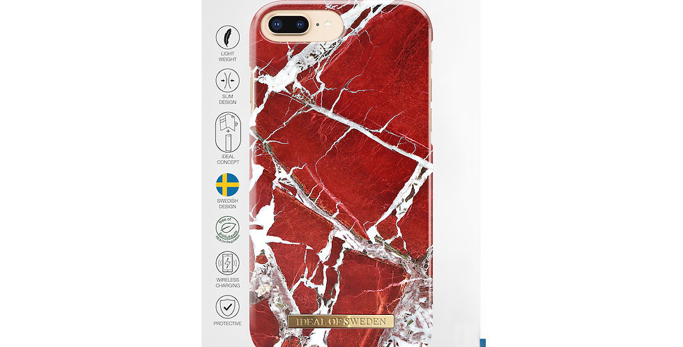 iDeal Of Sweden 8/7/6/6s Plus Fashion Case, Scarlet Red Marble