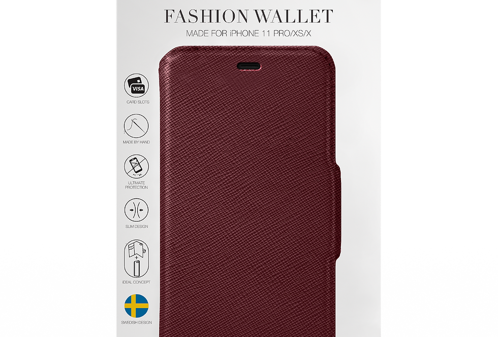 iDeal Of Sweden Fashion Wallet iPhone 11 Pro, Burgundy