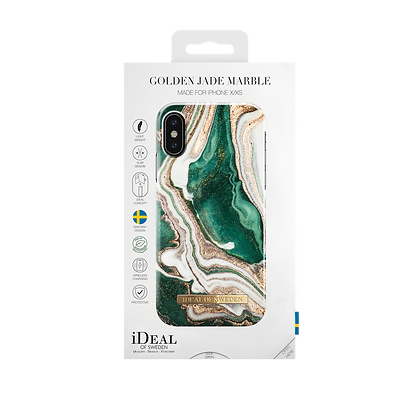 iDeal Of Sweden Fashion Case iPhone X/Xs, Golden Jade Marble