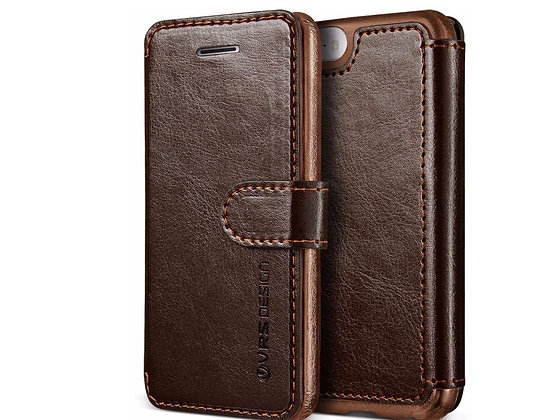 VRS Design iPhone SE Dandy Layered PU Leather Case, Dark Brown/Brown