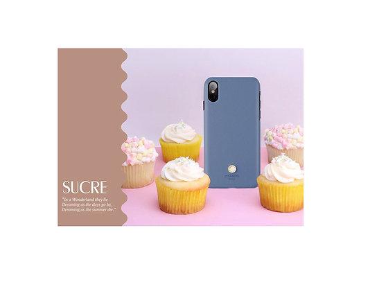 JTLegend iPhone X Saffiano Cowhide Leather Back Case, Baby Blue
