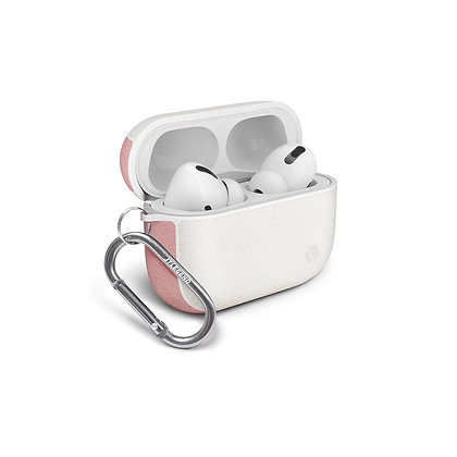 JTLegend AirPods Pro Amos Knitted Fabric Leather Case, White Cherry Blossom