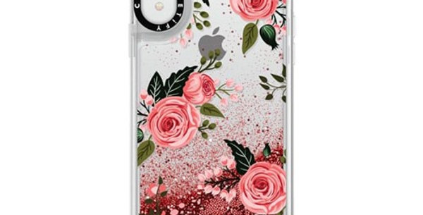 Casetify iPhone XR Glitter Case, Rose Pink Floral Flowers and Rose Chic Feminine