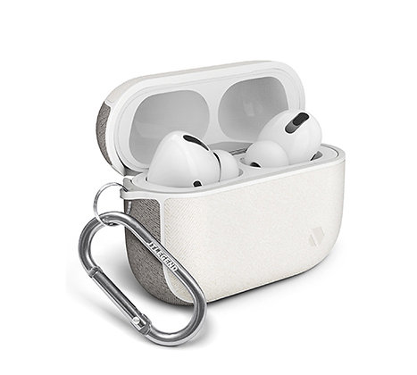 JTLegend AirPods Pro Amos Knitted Fabric Leather Case, White Misty Grey