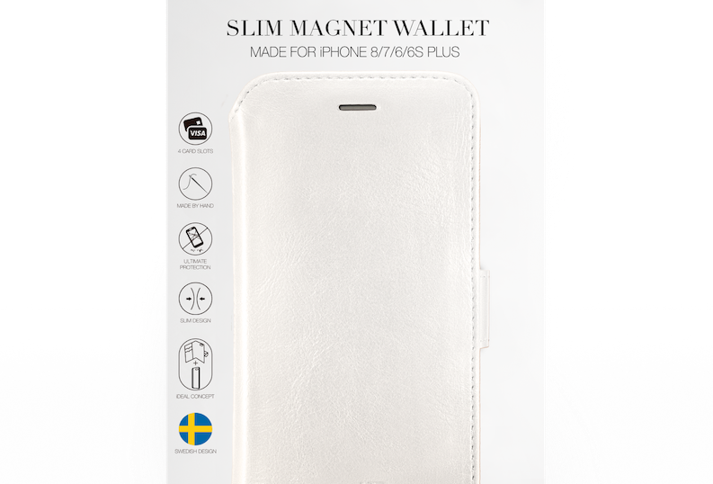 iDeal Of Sweden 8/7/6/6s Plus Slim Magnet Wallet, White
