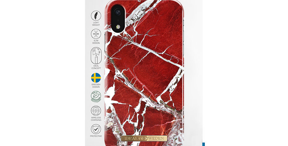 iDeal Of Sweden iPhone XR Fashion Case, Scarlet Red Marble