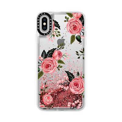 Casetify iPhone X/Xs Glitter, Pink Floral Flowers and Rose Chic Feminine