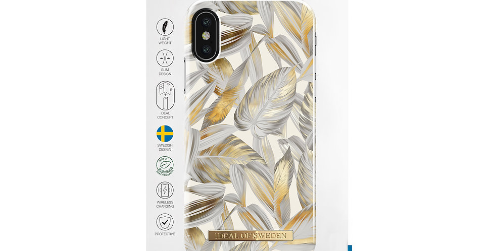 iDeal Of Sweden iPhone X/Xs Fashion Case 2019, Platinum Leaves