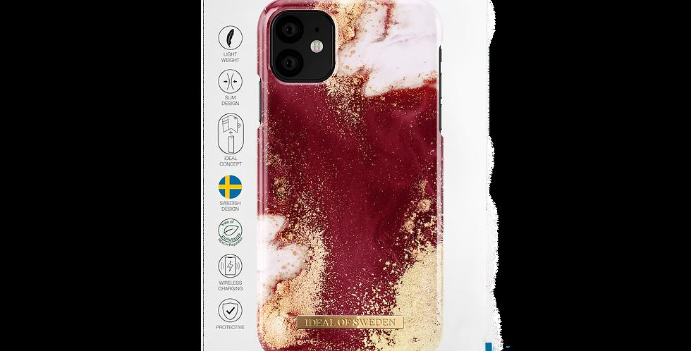 iDeal Of Sweden iPhone 11 Fashion Case, Golden Burgundy Marble