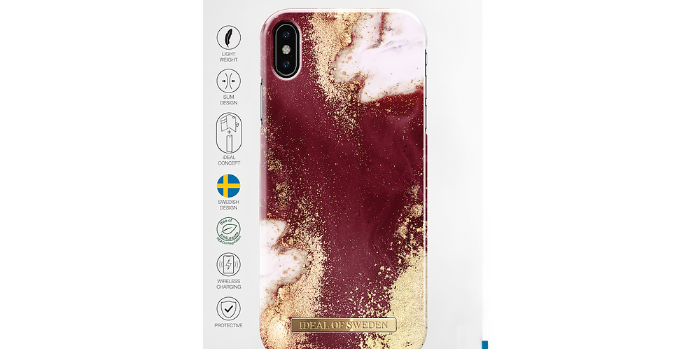 iDeal Of Sweden iPhone Xs Max Fashion Case, Golden Burgundy Marble