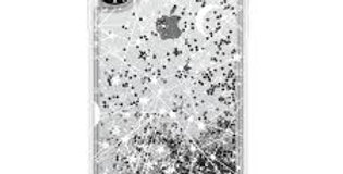 Casetify iPhone Xs Max Glitter Case, Monochrome Silver Sun Moon Stars White