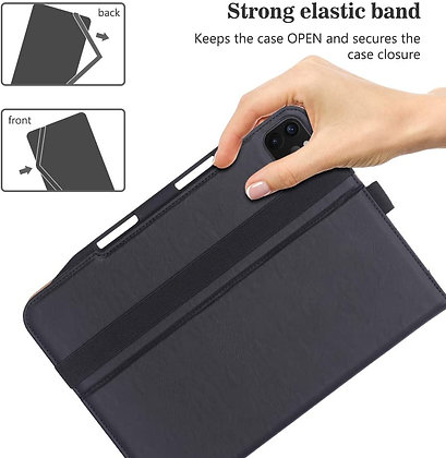 "Just Must iPad Pro 12.9"" Case (2020) Leather Folio Skin, Black"