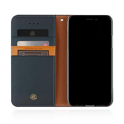 JTLegend iPhone Xs Original Cowhide Leather Flip Case, Navy