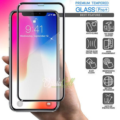 Vouni iPhone X Tempered Glass, Full Anti-Glare Black