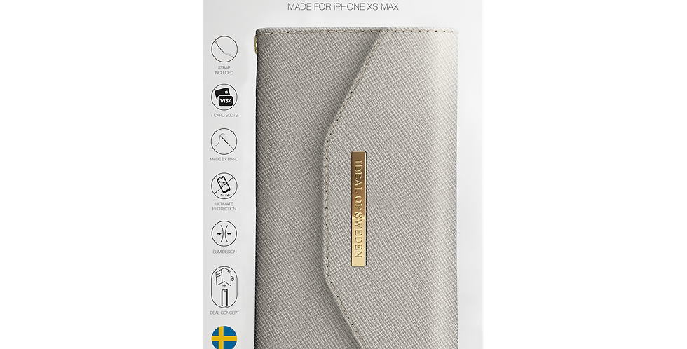 iDeal Of Sweden iPhone Xs Max Mayfair Clutch, Light Gray