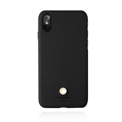 JTLegend iPhone X Saffiano Cowhide Leather Back Case, Black