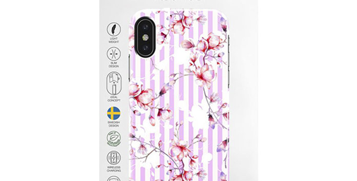 iDeal Of Sweden iPhone X Fashion Case Collaboration Dearing Kinga, Magnolia Stri