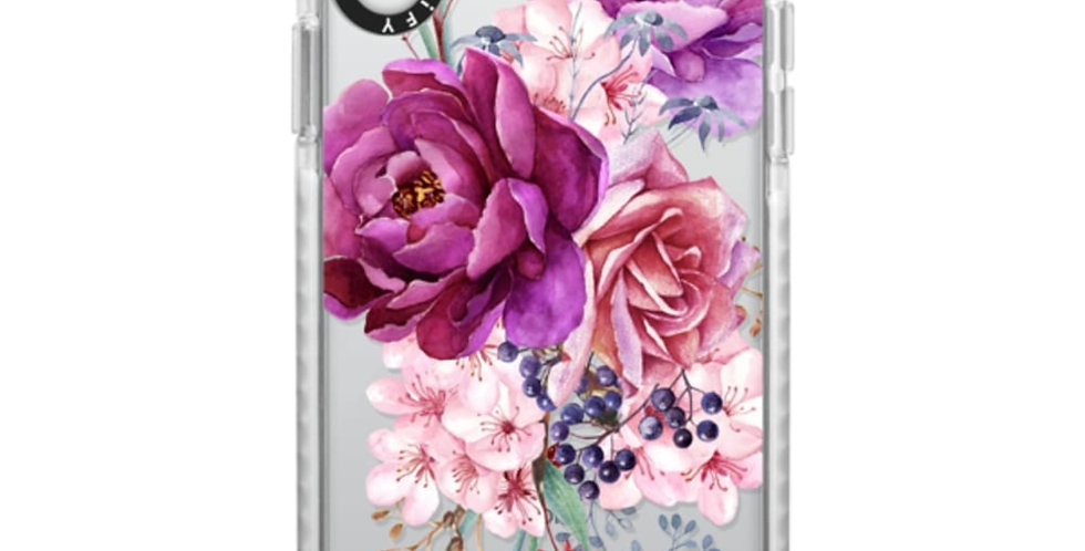 Casetify iPhone Xs Max, Frost Purple Peony Watercolor Floral Bouquet