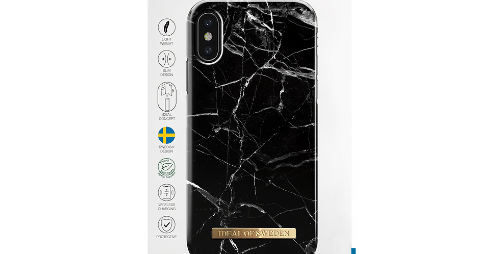 iDeal Of Sweden iPhone X/Xs Fashion Case, Black Marble