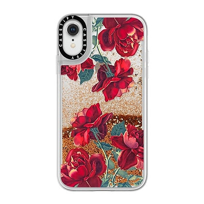 Casetify iPhone XR Glitter Case, Gold Chrome Red Roses
