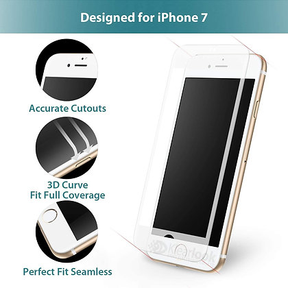 Vouni iPhone 8/7 Screen Protector, MAX Anti-Glare Tempered Glass White